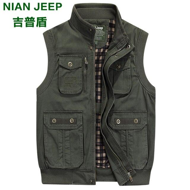 Brand Men's Casual Vests Breathable Vest Green Vest for Fashion Multi-pocket Photographer Vest Plus Size 4XL 5XL 6XL 7XL
