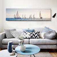 Canvas Painting Golden Sailing Boat Sea Wall Art Print Nordic Poster Landscape Chic Wall Drawing Ornament For Cafe Bedroom Shop