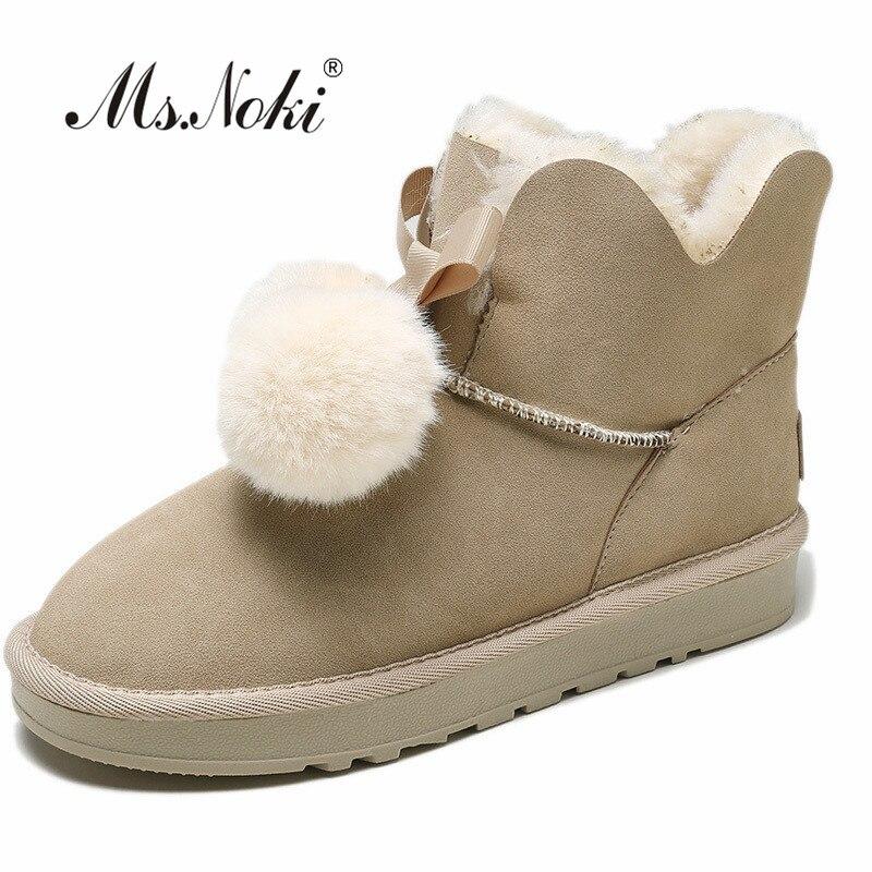 formes beige Sur Rond En Neige Boot Chaud Solide Flock Boule Plates Glissement pink Femelle Filles Cheville Brown Femmes Peluche Bottes De Puffer Mode D'hiver Bout 6aWgq6Rw