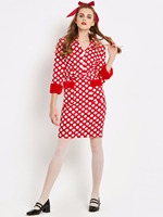 2018 Womens Autumn Winter Elegant Patchwork Slim Casual Work Business Office Party Fitted Bodycon Sheath Dot