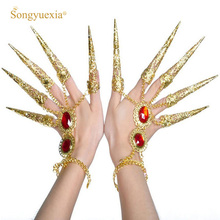 Songyuexia Belly Dance Fingernai Wrap Cover India Red Nail Golden Long Nails Jacket