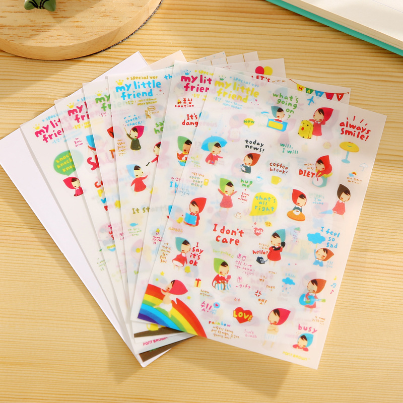 6 PCS My Little Friend Korean Stationery Cute Little Red Riding Hood PVC Sticker Diary Decorative Stickers Photo Album