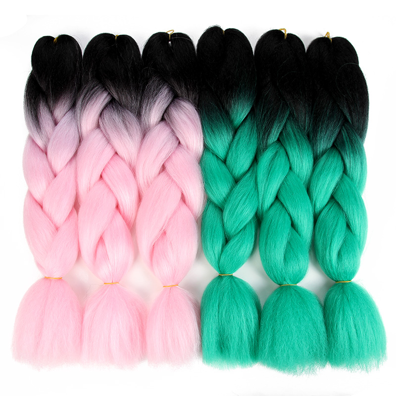 Sambraid 24 Inch Ombre Jumbo Braids Synthetic Braiding Hair For Crochet Hair Extensions Crochet Braids