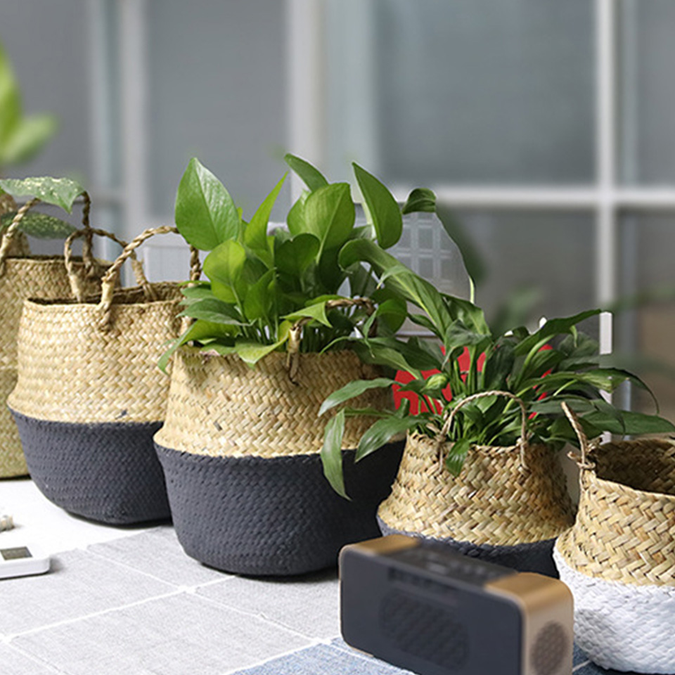 Image 2 - Wicker Baskets For Plants Foldable Natural Woven Seagrass Belly Storage Basket Wicker Rattan Baskets Flower Pots  Laundry Basket-in Flower Pots & Planters from Home & Garden