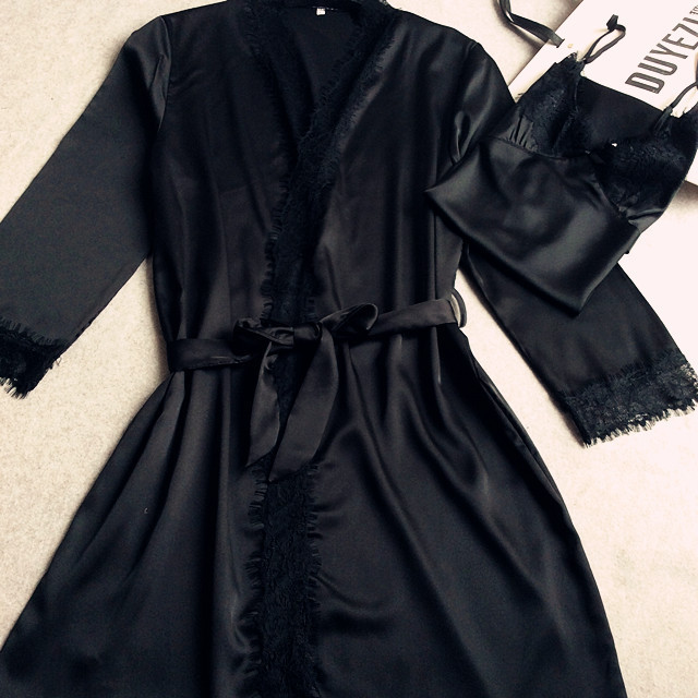 Black Women's New Style Satin Robes Gown Pajamas With Belt Bathrobes Long Sleeve Sleepwear Brand New Nightgown M L XL XXL