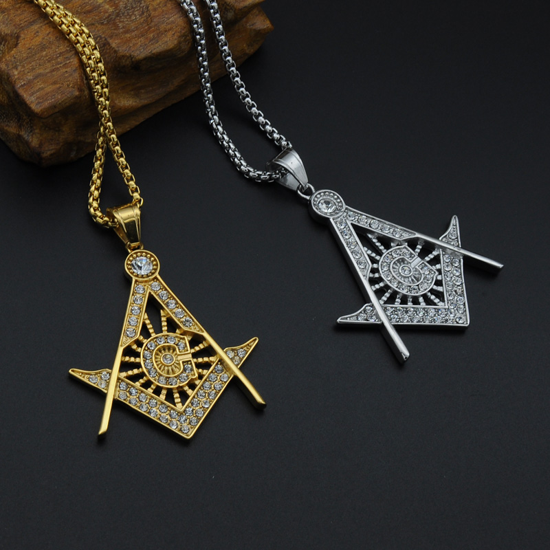 Dz hiphop gold color masonic necklace ice out full rhinestones dz hiphop gold color masonic necklace ice out full rhinestones stainless steel freemason pendants necklaces for men jewelry in pendant necklaces from aloadofball Gallery