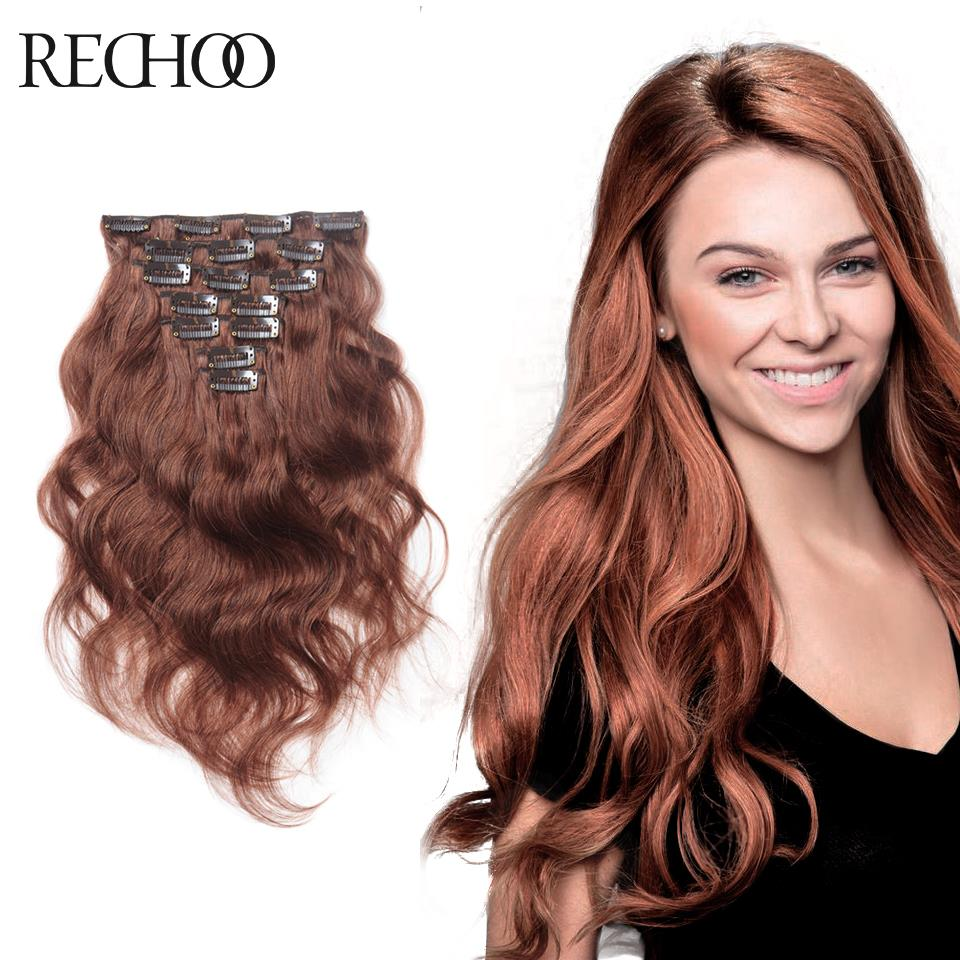 Virgin Brazilian Wavy Hair Clip In Human Remy Clip In Hair Extensions Online  Rich Copper Red 22