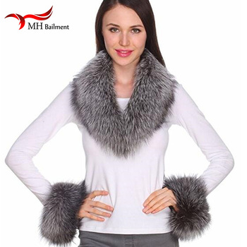 Women Real Fox Fur Collars Cuff for Coat Solid Black Color Scarves Female Fashion Warm Genuine Winter Scarf, Hat amp Glove Sets image