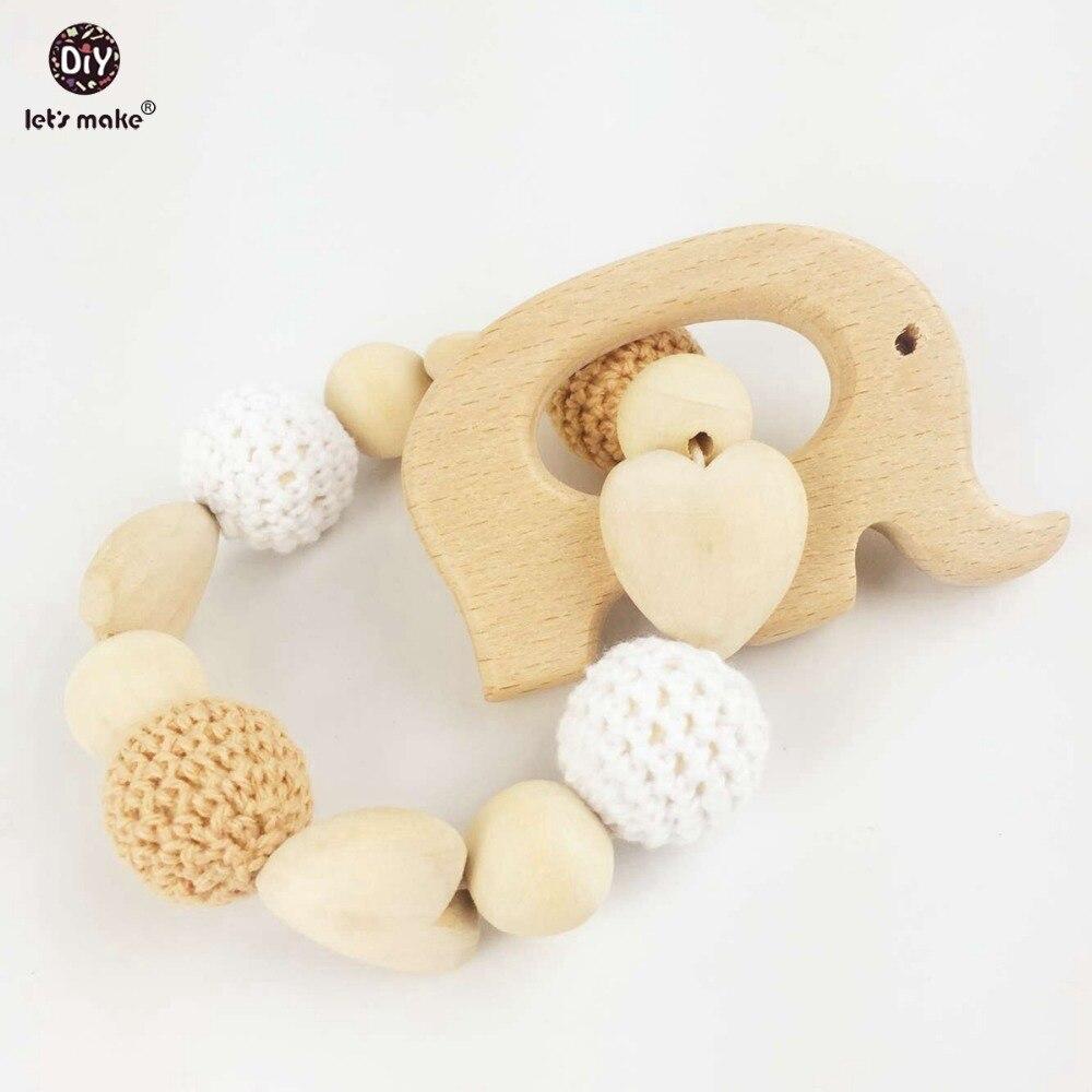 ✓Hagamos corazón elefante de madera Crochet titular Ecofriendly ...