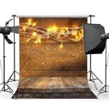 Fondo de fotografía luces de cadena de Navidad rayas Vintage suelo de madera fondos de Navidad