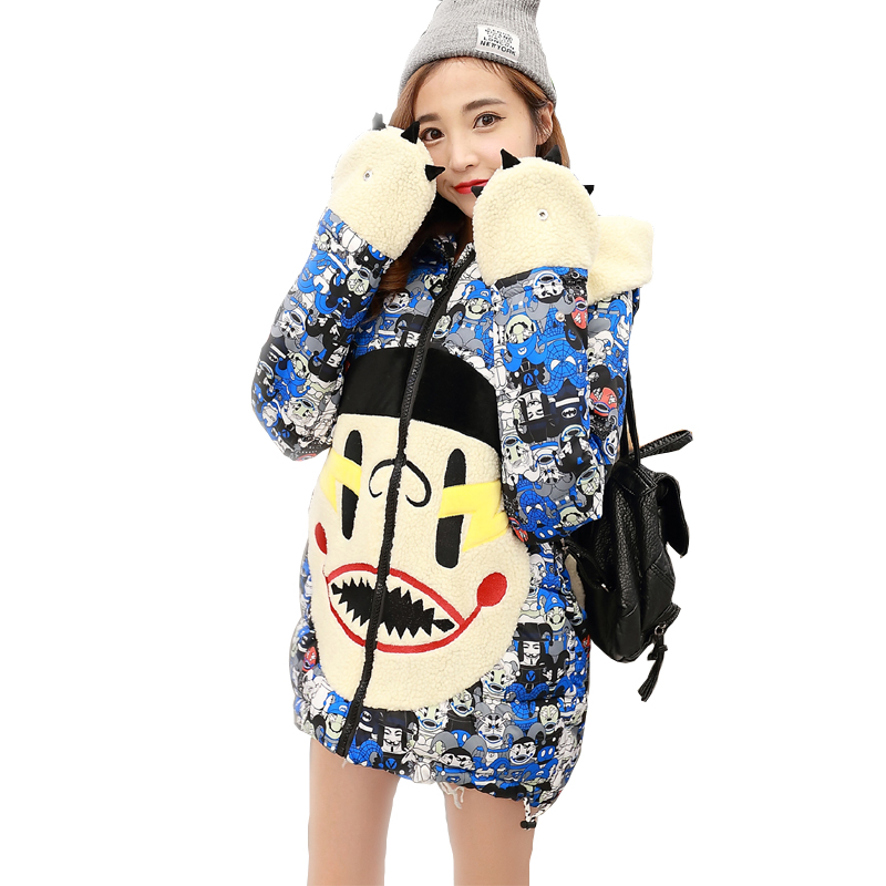2017 New winter jacket women lovely Anime Printing Cotton-Padded Student Parka Hooded Overcoat Thick Warm Long Girl's Slim Coat lovely autumn winter lover cotton padded women