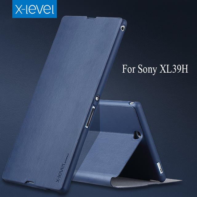 5 color de alta calidad del tirón de la pu leather case para sony xperia z ultra xl39h teléfono marca case cubierta