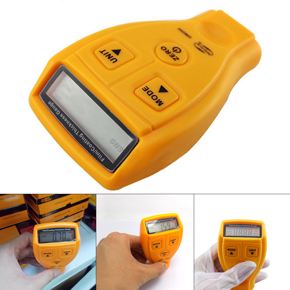 GM200 Digital Auto Coating Ultrasonic Paint Meter Tester Painting Coating Thickness Gauge with Aluminum Plate Gift Bag gm200 coating thickness gauge standard model with built in probe for ferrous metal substrates yellow