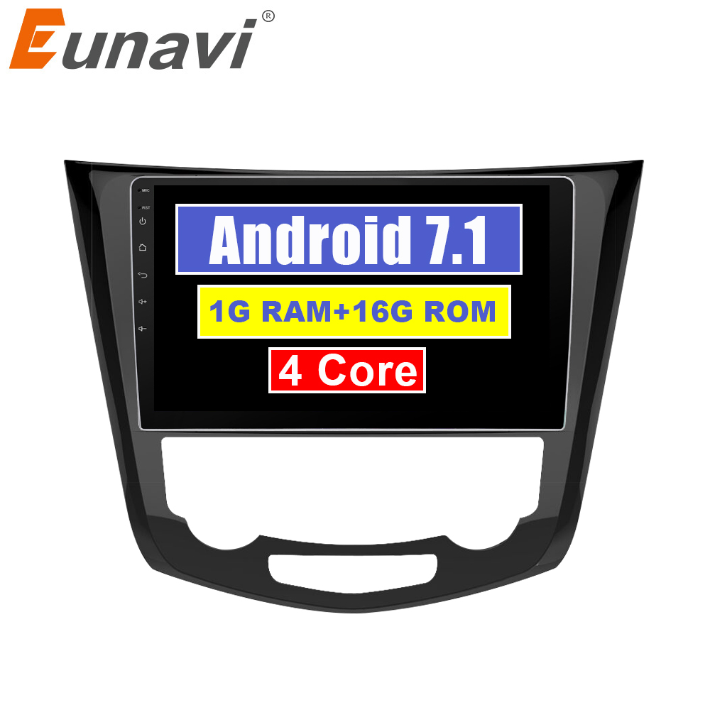 Eunavi 2 din Android 7.1 Car GPS Radio Player for Nissan X-Trail Qashqail 2014-2017 Multimedia Stereo Navigation 1024*600 HD