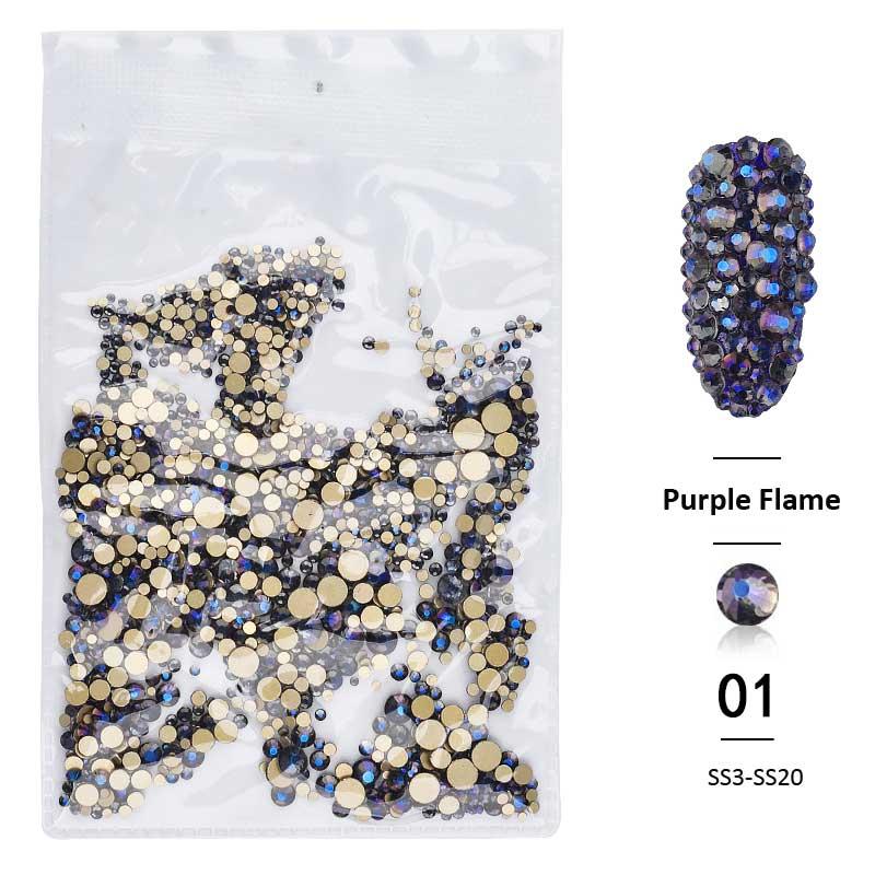 Dropwow 1pack Shiny Mixed Size (SS3-SS20) Crystal Colorful Flat Nail ... 29957b210b11