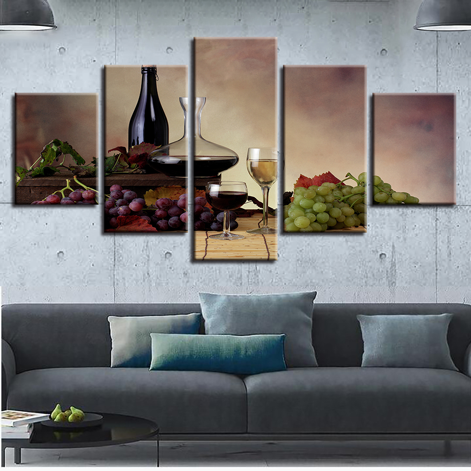 Canvas Paintings Kitchen Wall Art 5 Pieces Red Wine Glass Pictures ...