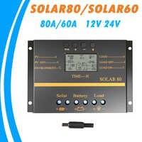 80A 60A Pannello Solare Regolatore di Carica 12V 24V Auto LCD Batteria Solare del USB del Caricatore Solare Ad Alta Efficienza 60 solar80 Regolatore PWM