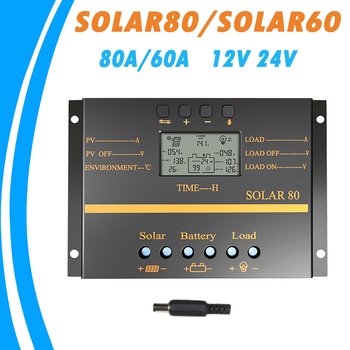цена на 80A 60A Solar Panel Charge Controller 12V 24V Auto LCD USB Solar Battery Charger High Efficiency Solar 60 Solar80 PWM Regulator