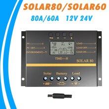 80A 60A Zonnepaneel Laadregelaar 12V 24V Auto Lcd Usb Solar Battery Charger High Efficiency Solar 60 solar80 Pwm Regulator