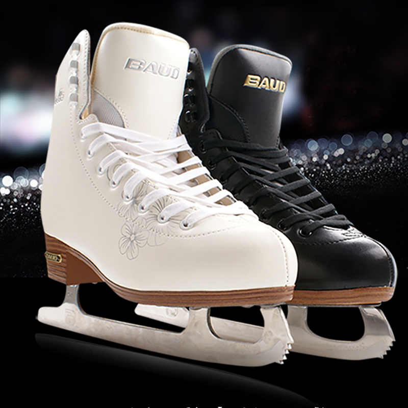 Winter Adult Genuine Leather Professional Thermal Warm Thicken Ice Figure Skates Shoes With Ice Blade Waterproof Comfortable