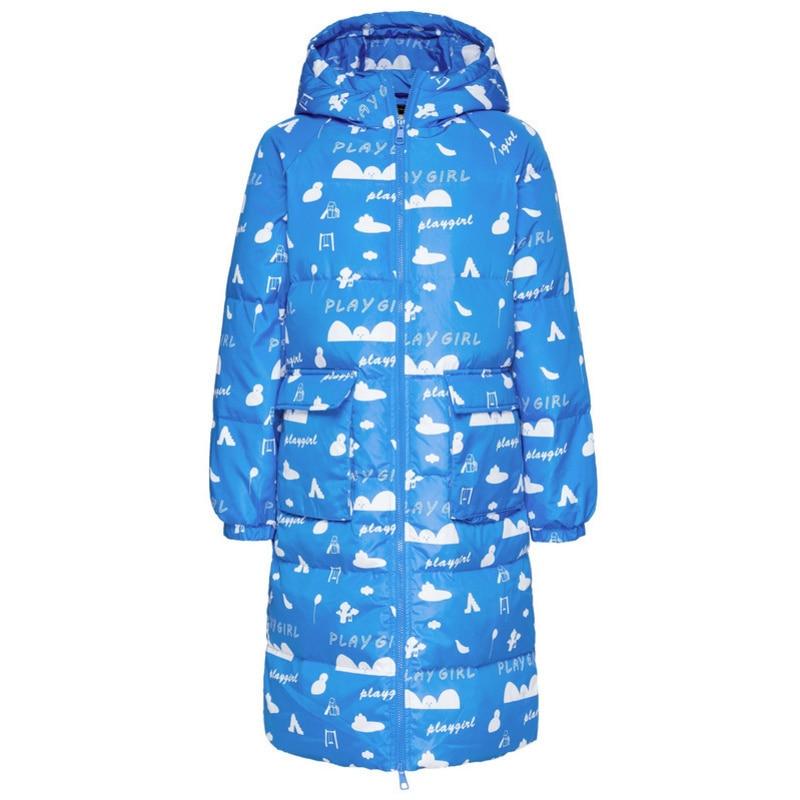 SEMIR femmes Long duvet imprimé manteau à capuche avec poche ouverte fermeture à glissière vers le bas remplissage manteau avec capuche doublée veste élastique - 5