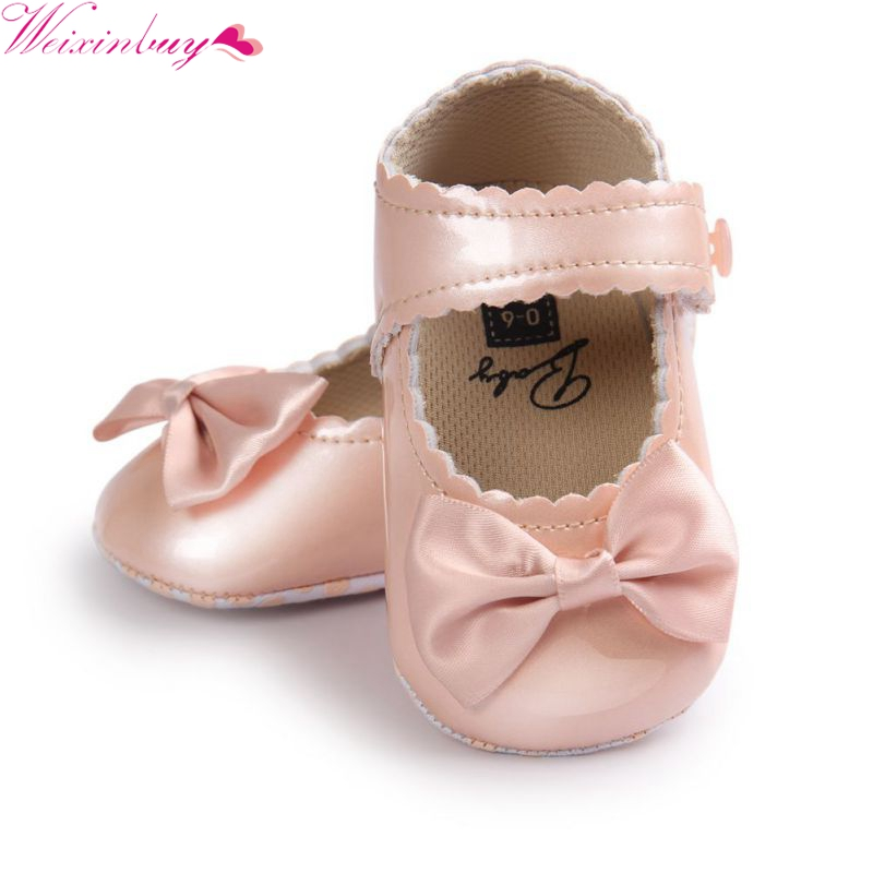 China Infant Baby Girls First Walkers Soft Sole PU Leather Bebe Crib Bow Shoes 0-18 Months Moccasins Baby Shoes