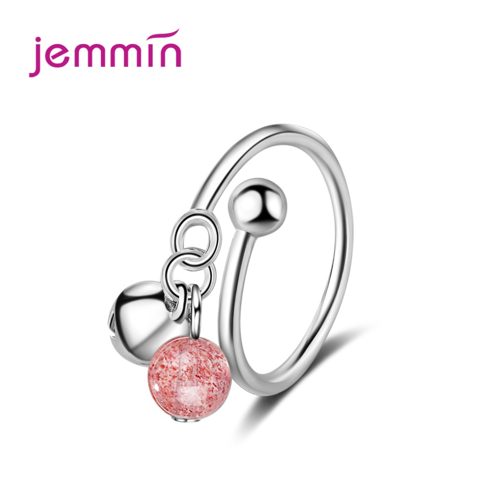 New Adjustable S90 Strawberry Crystal Ring For Women Love Jewelry Girls Trendy Wedding Bands Fashion Party Finger Rings(China)