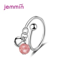 New Adjustable 925 Sterling Silver Strawberry Crystal Ring For Women Love Jewelry Girls Trendy Fashion Party Finger Rings