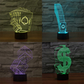 Casino Poker Dice Earphone 3D LED Optical Illusion Table Lamp USB Power Touch Sensor Night Lights Creative Toys Gifts