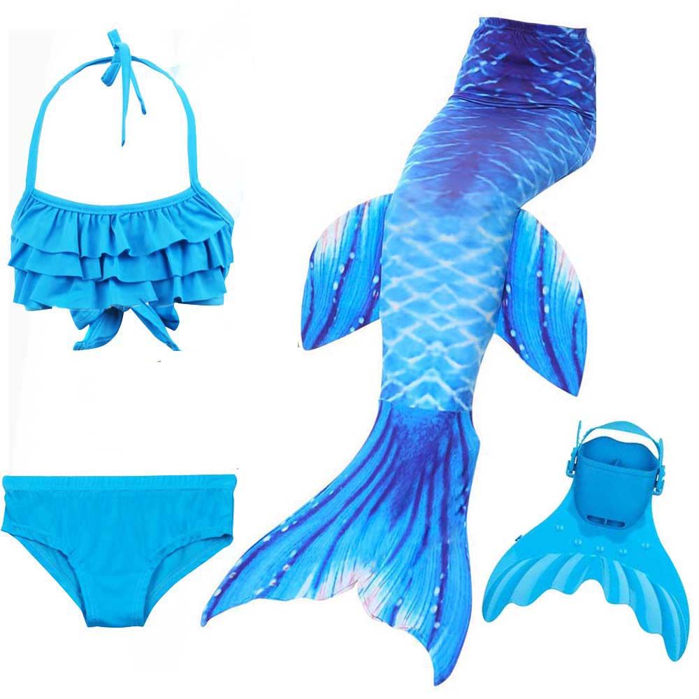 4Pcs Girls swimmable mermaid tails Cosplay costumes swimming mermaid tail with monofin flipper bikini for children kids swimsuit