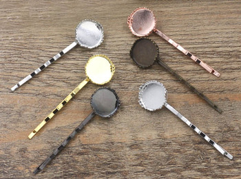 Glass Cabochon Hairpins Base 12mm 15mm 20mm 25mm Round Crown Bezel Hair Pin Settings DIY Hair Jewelry Accessories Mixed colors