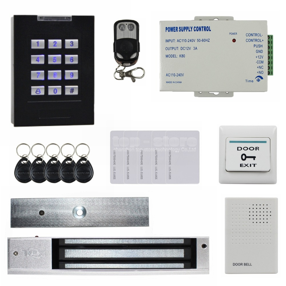 DIYSECUR Remote Control Magnetic Lock Door Bell 125KHz RFID Reader Blue Backlight Keypad Door Access Control Security System