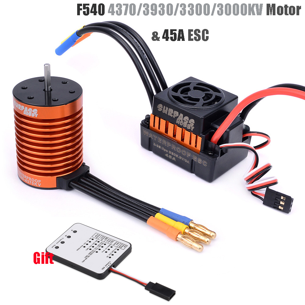 Rc F540 4370/3930/<font><b>3300</b></font>/3000kv Sensorless Brushless Motor & 45A Brushless ESC+ Program Card For 1/<font><b>10</b></font> RC Racing Car Boat image