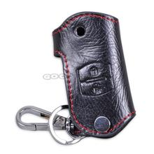 In Stock New 2 Buttons PU Leather Remote Key Chain Holder Case Cover Fob For Mazda