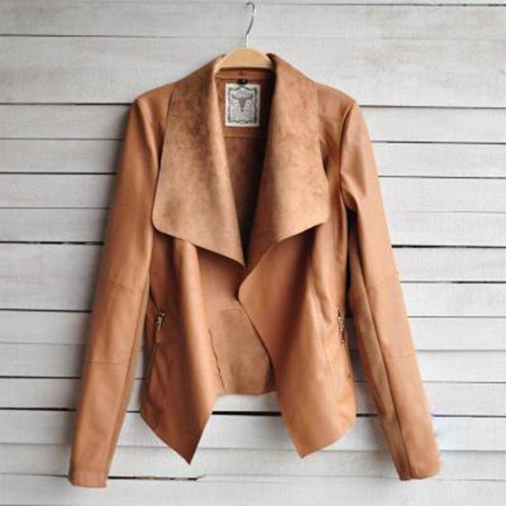 Plus size   Leather   PU jacket coat 2018 Autumn winter coats female jackets Women casual zipper streetwear black jacket femme S-4XL