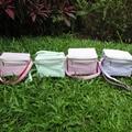 Wholesale seersucker lunch bag ,monogramable Seersucker school lunch box with adjustable strap with 6 colors DOM-101032