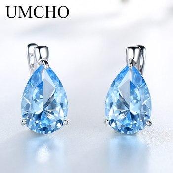 UMCHO Luxury Nano Gemstone Blue Topaz Clip Earrings For Women 925 Sterling Silver On Water Drop Fine Jewelry Gift