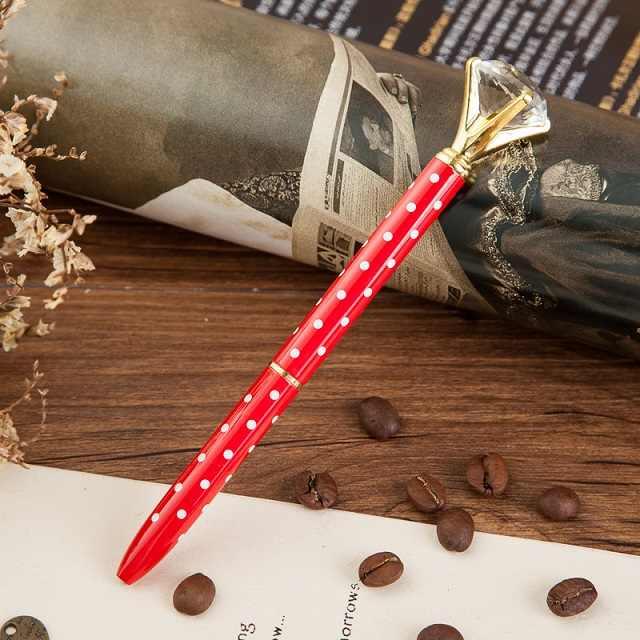 Metal kasa tükenmez kalem karat pırlanta yüzük kristal kalem lady düğün ofis okul malzemeleri hediye makaralı tükenmez kalem gül altın