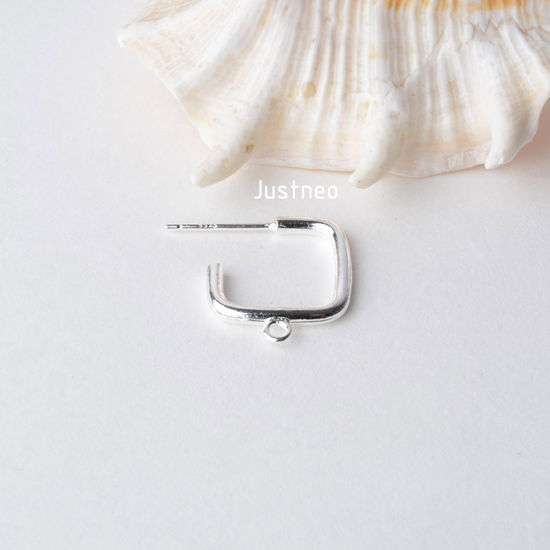 纯银耳针正方形带闭口圈 (2)