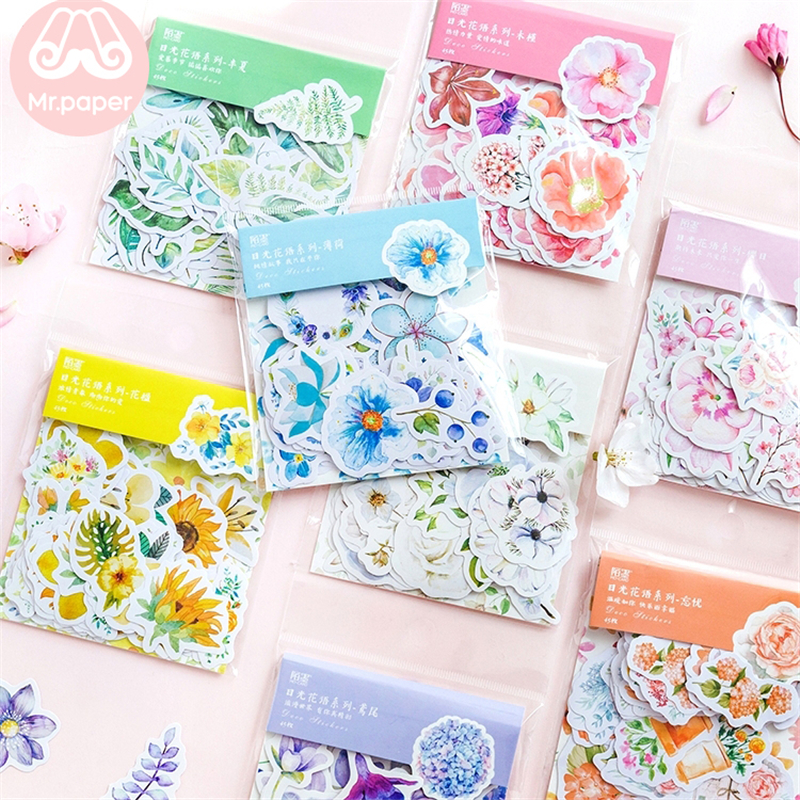 Mr.paper 45Pcs/bag 8 Colors Fresh Flowers Deco Diary Stickers Scrapbooking Planner Bullet Journal Decorative Stationery Stickers