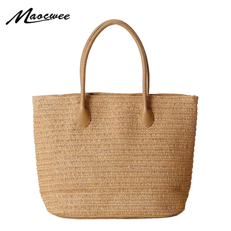 где купить 2016 New Fashion Straw Bag Large Capacity Women's Handbag Handmade Woven Bag One Shoulder Casual Beach Bags Ladies Tote по лучшей цене