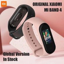 В наличии умный Браслет Xiaomi Mi Band 4 оригинальные новые музыкальные умные Miband 4 Смарт Браслет сердечного ритма фитнес 135 мА/ч, цветной экран Bluetooth 5,0