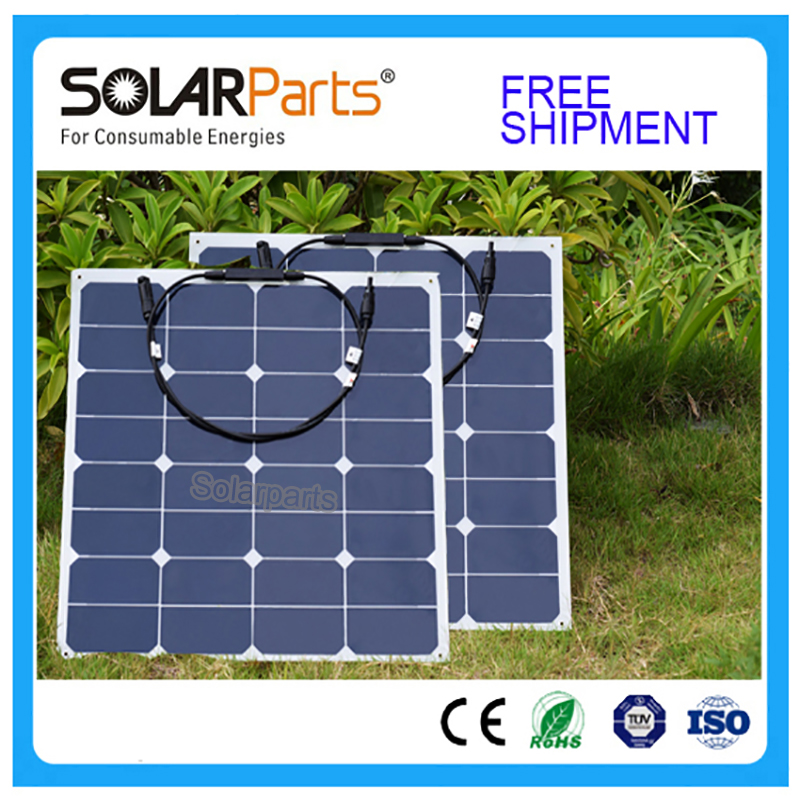 Solarparts 2x 50w free shipment Solar Panel flexible 12V Solar system solar module solar cell outdoor RV/marine/boat cheap sales high efficiency solar cell 100pcs grade a solar cell diy 100w solar panel solar generators