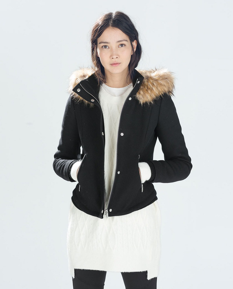 Genuine ZA 2014 autumn winter Female Black Fur hooded Short Jacket ...