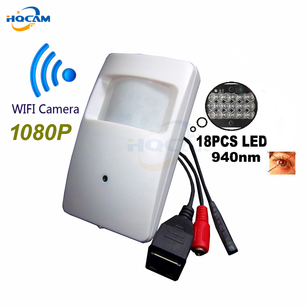 HQCAM Wireless 1080P mini ip camera wifi night vision Camera 940nm leds Pir Motion Detector Camera Pir Style PIR IP Camera wifi mini motion activated camera with night vision auto video recorder build in pir detector high definition recording