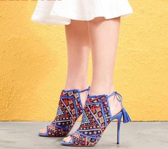 2017 Newest Multi Color Trim Fringe Women Lace Up Sandals Sexy Peep Toe Ladies Party High Heels Fashion Dress Shoes