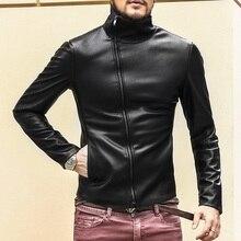 Lederimitat jacke männer motorrad-jacken Schwarz Leder Dünne kurze stehkragen Britischen Jaqueta Couro Masculino Plus Größe