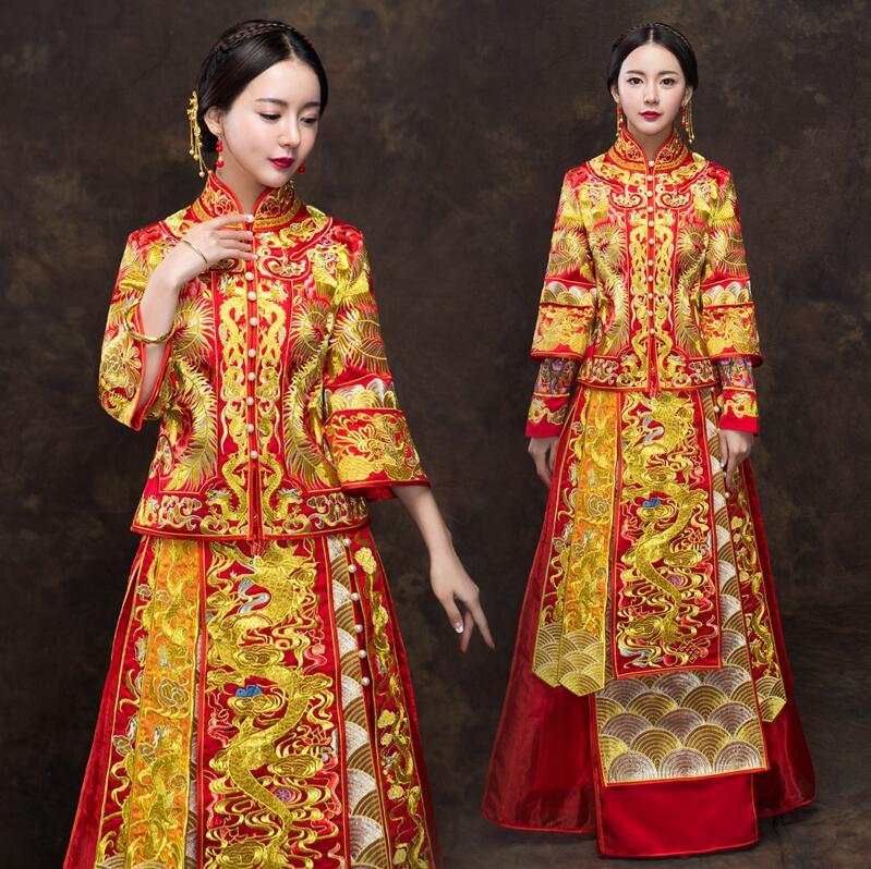 2018 nouveau printemps et été robe de mariée mariage dragon Phoenix robe femme toast tenue doré rouge Long 3 quart manches uniforme
