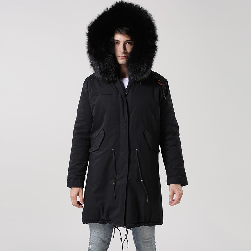Wholesale price New arrival pure black man long style jacket