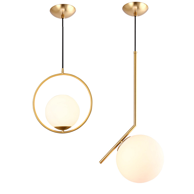 Image 2 - 20cm Modern Glass Ball Pendant Light Fixture Round Iron luminaire Metal Lamp Designer Glass Luster-in Pendant Lights from Lights & Lighting